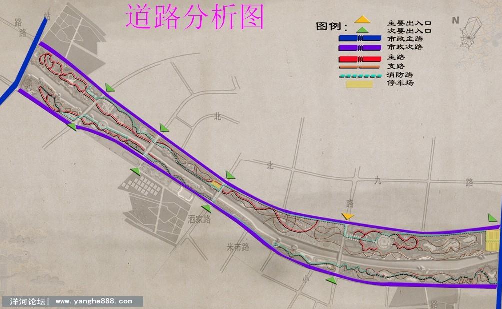 洋河新城古黄河风光带 滨河大道景观规划设计效果图